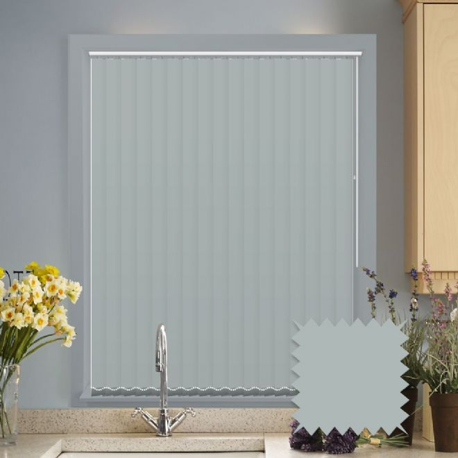 Made to measure vertical blinds in Splash Duck Egg Blue plain fabric - Just Blinds